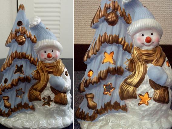 クリスマスツリーと雪だるまのろうそくで明かりをともす置き物